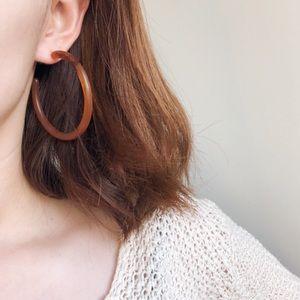 Jewelry - Acrylic Brown Tortoise Hallow Hoop Earrings